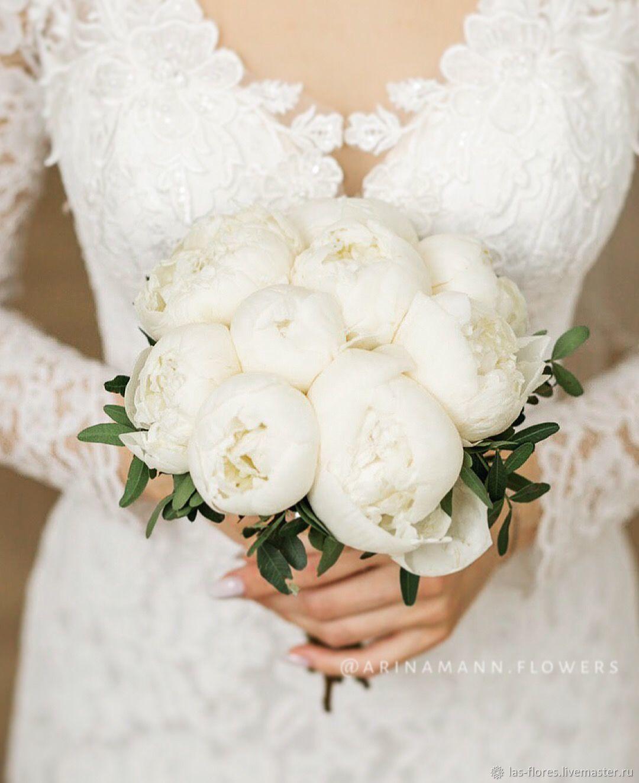 Свадебный букет из пионов 9 шт. Букет невесты из белых пионов, Свадебные букеты, Москва,  Фото №1
