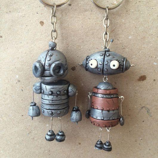 Брелоки ручной работы. Ярмарка Мастеров - ручная работа. Купить Брелки-роботы из Machinarium. Handmade. Брелок, роботы, металлическая фурнитура