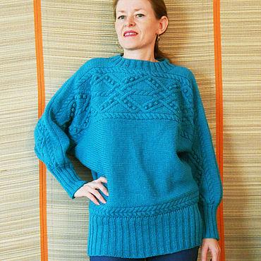 Одежда ручной работы. Ярмарка Мастеров - ручная работа Пуловер вязаный спицами полушерстяной из комплекта Водопад. Handmade.