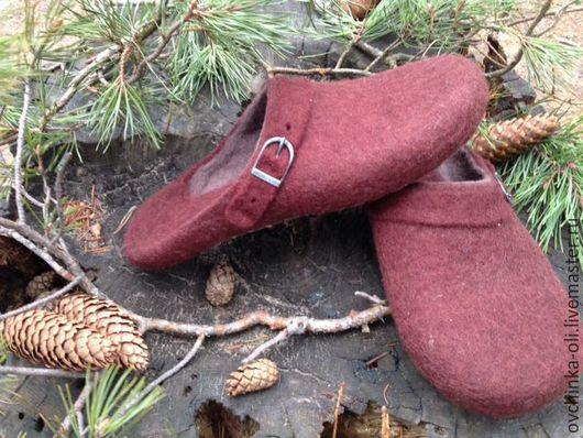 Обувь ручной работы. Ярмарка Мастеров - ручная работа. Купить Тапочки валяные мужские. Handmade. Коричневый, тапочки валяные