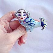 Украшения handmade. Livemaster - original item Brooch Bird Sirin from polymer clay. Handmade.