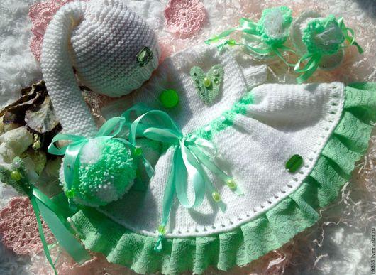 """Одежда для кукол ручной работы. Ярмарка Мастеров - ручная работа. Купить """"Хрустальная мята"""" комплект для куклы. Handmade. Мятный"""