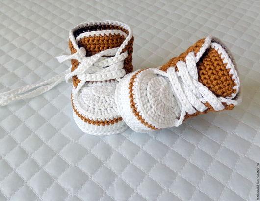 Для новорожденных, ручной работы. Ярмарка Мастеров - ручная работа. Купить Пинетки-кеды вязаные. Handmade. Комбинированный, пинетки крючком