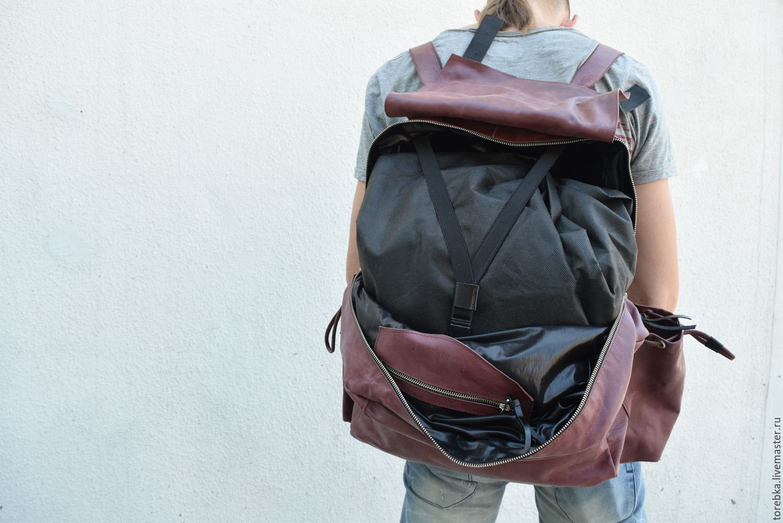 Дорожный кожаный рюкзак – купить в интернет-магазине на Ярмарке ... b79eeb2ee7f