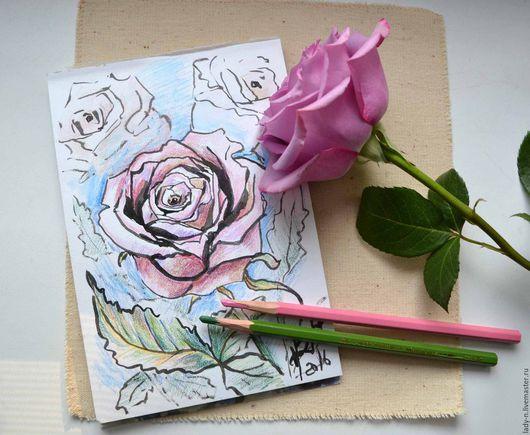 `Нежная роза`, картина, графика