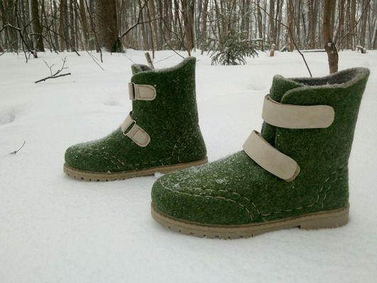 Обувь ручной работы. Ярмарка Мастеров - ручная работа. Купить Валенки-ботинки на липучках Lazy style. Handmade. Зеленый