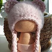 Одежда для кукол ручной работы. Ярмарка Мастеров - ручная работа Одежда для кукол: шапочка ,, мишка,, для текстильной куклы. Handmade.