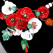 Украшения handmade. Livemaster - original item Necklace Red and white poppies. Handmade.