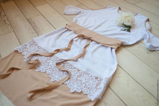 Платья ручной работы. Ярмарка Мастеров - ручная работа. Купить Летнее белое платье с плетеным кружевом и открытыми плечами. Handmade.