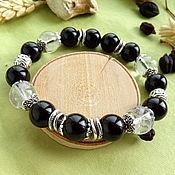 Украшения handmade. Livemaster - original item Bracelet with black obsidian and rock crystal. Handmade.