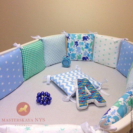 Детская ручной работы. Ярмарка Мастеров - ручная работа. Купить Бортики голубые со слониками на кроватку для мальчика в наличии. Handmade.