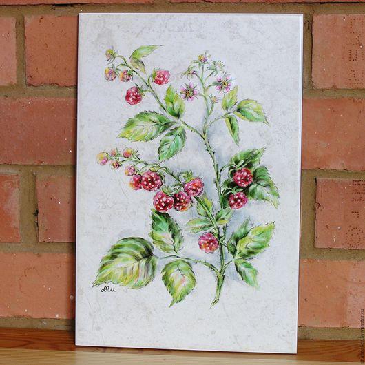 Натюрморт ручной работы. Ярмарка Мастеров - ручная работа. Купить Ботанический рисунок на плитке Малина. Handmade. Розовый, ягоды