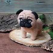Куклы и игрушки handmade. Livemaster - original item Pug toy made of wool dog symbol of the year. Handmade.