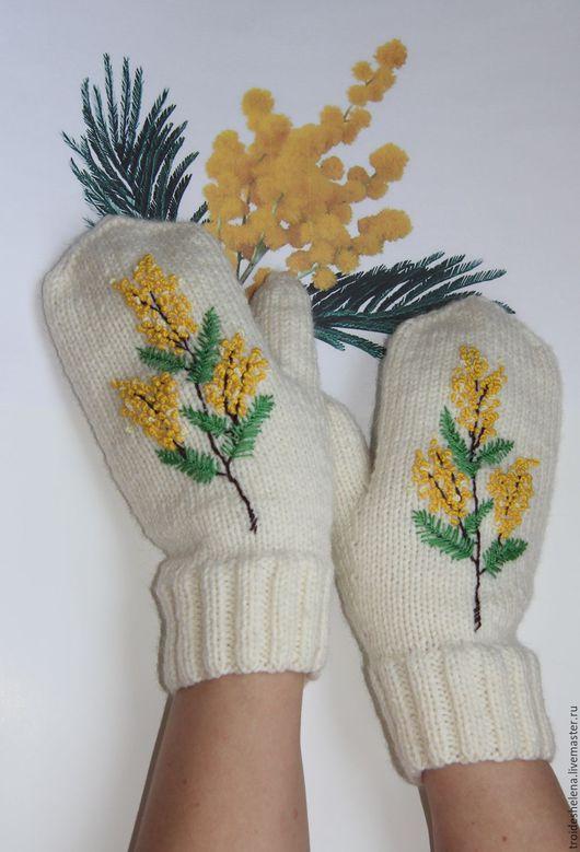Варежки, митенки, перчатки ручной работы. Ярмарка Мастеров - ручная работа. Купить Варежки весенние с вышивкой. Handmade. 8 марта