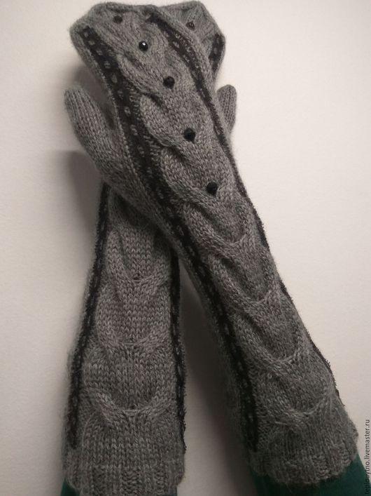 Варежки, митенки, перчатки ручной работы. Ярмарка Мастеров - ручная работа. Купить Длинные варежки с кружевом. Handmade. Серый