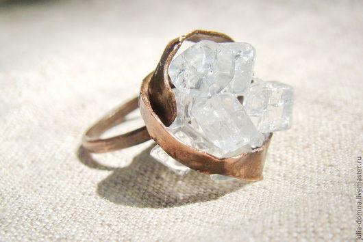 Кольца ручной работы. Ярмарка Мастеров - ручная работа. Купить кольцо с кварцем Шербет. Handmade. Медные украшения, кольца