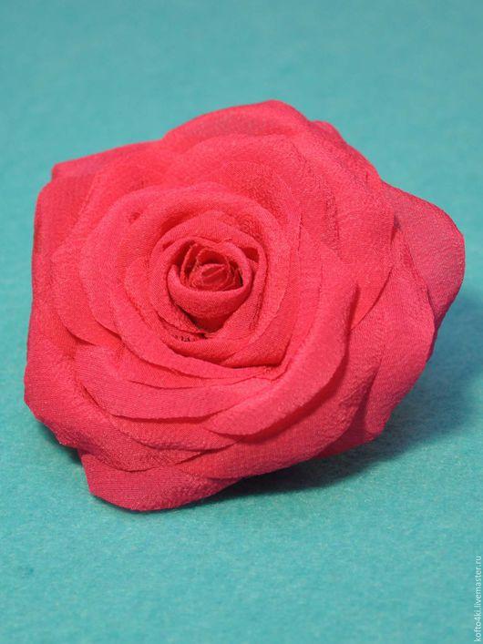 Броши ручной работы. Ярмарка Мастеров - ручная работа. Купить Брошь Розовая роза из шелка. Handmade. Коралловый, брошь из ткани