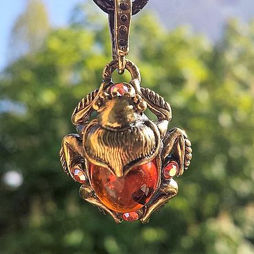 Scarab Amber present decoration silver handmade
