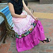 Одежда ручной работы. Ярмарка Мастеров - ручная работа Длинная юбка из льна и батиста в бохо стиле. Handmade.