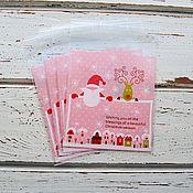 """Материалы для творчества ручной работы. Ярмарка Мастеров - ручная работа Новогодние пакетики. """"Веселый Санта 3"""" 10х11см + 3см. Handmade."""