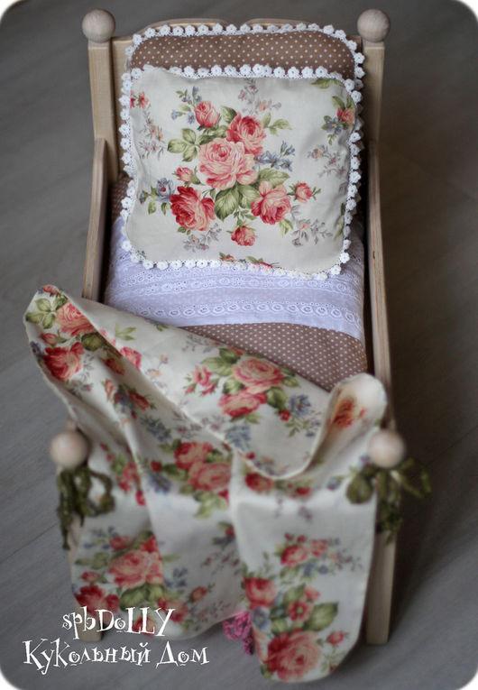 Кукольный дом ручной работы. Ярмарка Мастеров - ручная работа. Купить Кантри Роза (миди) - деревянная кровать с постелью для куклы. Handmade.