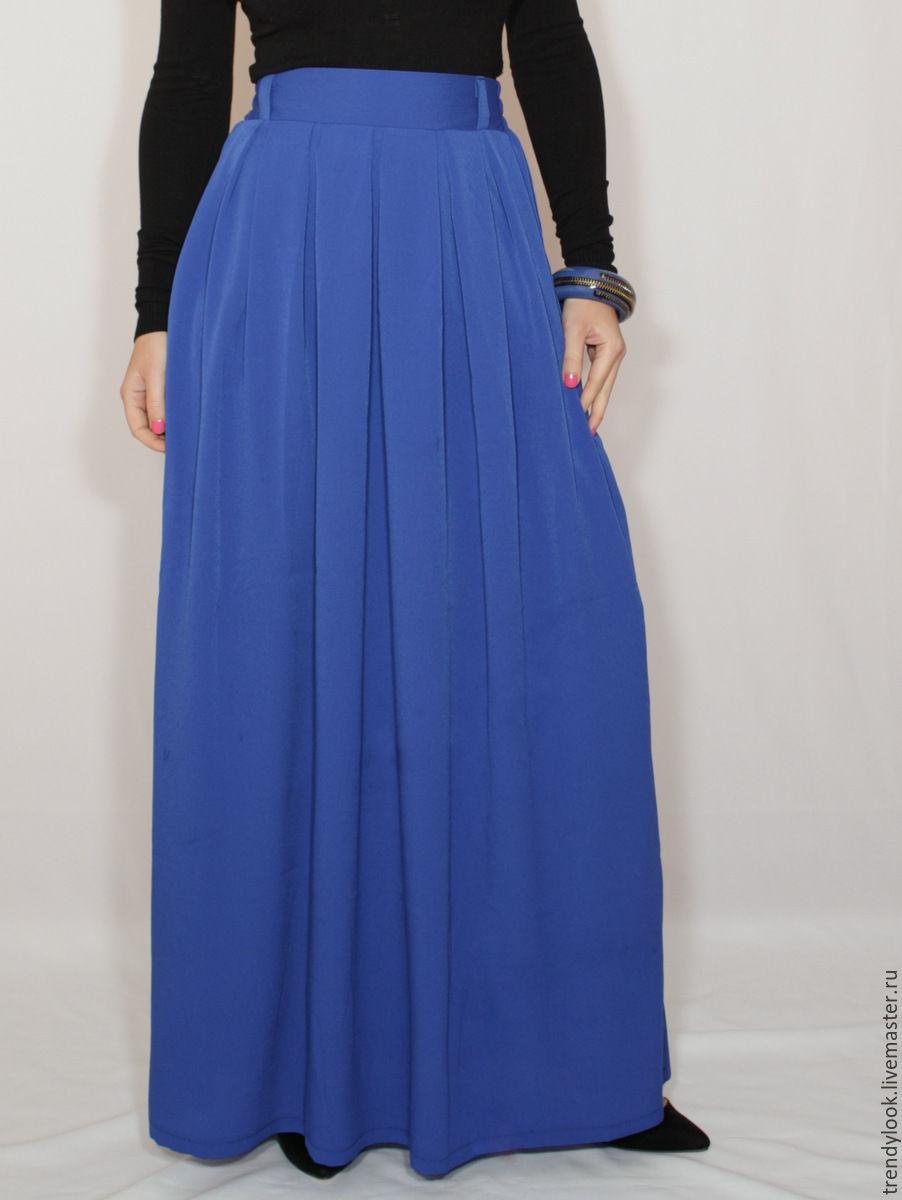 Длинная синяя шифоновая юбка