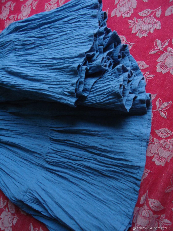 Ярусная юбка из марлёвки серо-голубая хлопок 100, Юбки, Новосибирск,  Фото №1