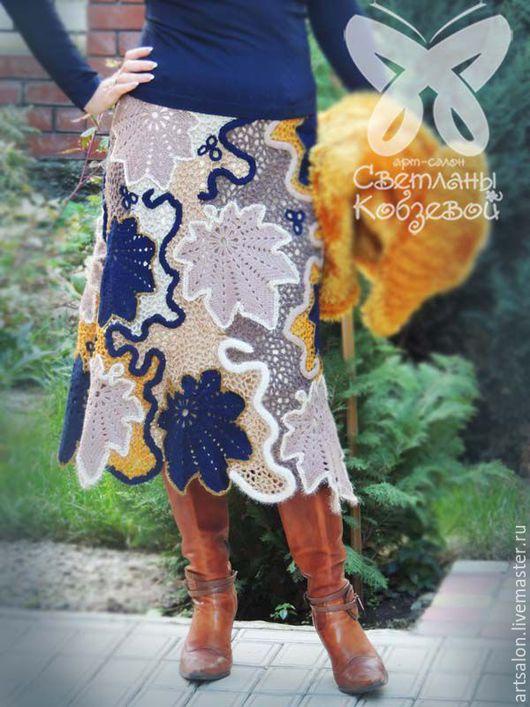 """Юбки ручной работы. Ярмарка Мастеров - ручная работа. Купить Авторские юбки """"Мечта"""" (сине-бежевая) и """"Шоколадный терракот"""". Handmade."""