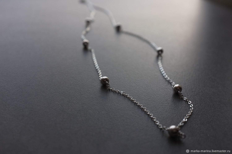 Silver chain with beads, 925 silver, Chain, Samara,  Фото №1