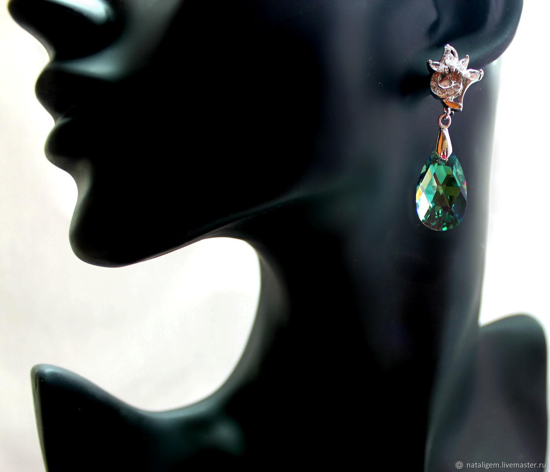 Earrings with Swarovski crystals Dpya green eyes, Earrings, Tuchkovo,  Фото №1