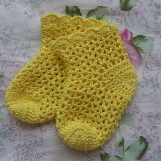 Носки, гольфы, гетры ручной работы. Ярмарка Мастеров - ручная работа. Купить Ажурные носочки. Handmade. Желтый, носочки детские
