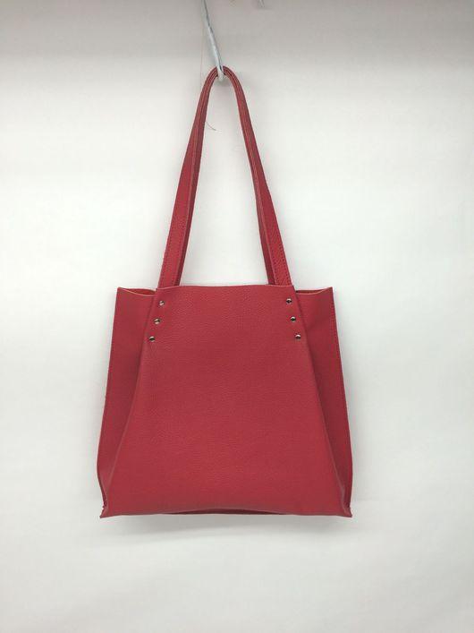 Женские сумки ручной работы. Ярмарка Мастеров - ручная работа. Купить Сумка-шоппер из натуральной кожи. Handmade. Ярко-красный