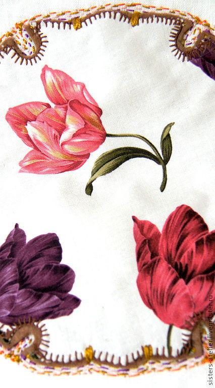 Текстиль, ковры ручной работы. Ярмарка Мастеров - ручная работа. Купить льняная винтажная подушка с тюльпанами. Handmade. Льняная подушка
