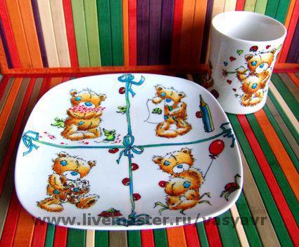 """Сервизы, чайные пары ручной работы. Ярмарка Мастеров - ручная работа. Купить Мини-сервиз """"Мишки Тедди"""". Handmade."""