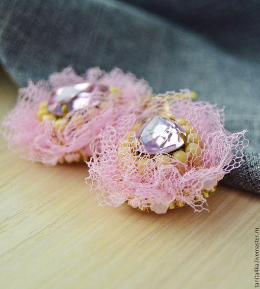 Пышные серьги.Розовые серьги.Серьги вышитые бисером.Розовые серьги.Вышитые серьги Вышивка бисером.Французский стиль.Серьги с кристаллами.
