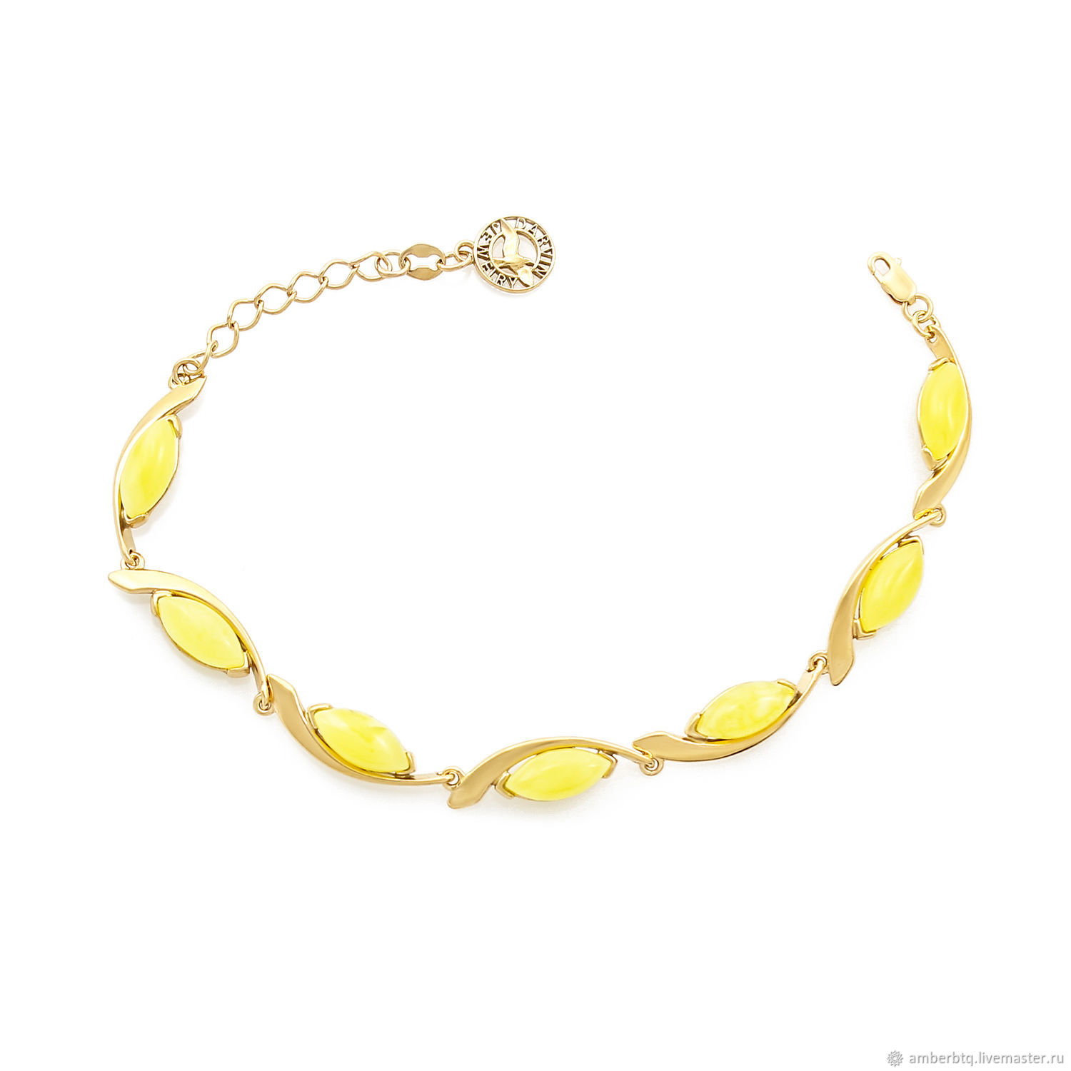 Gold-plated silver bracelet with white amber ' Tenderness», Chain bracelet, Kaliningrad,  Фото №1