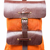 Сумки и аксессуары handmade. Livemaster - original item Backpack leather Gray orange. Handmade.