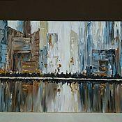 """Картины ручной работы. Ярмарка Мастеров - ручная работа Картина осенняя на холсте акрил """"Мегаполис"""". Handmade."""