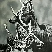 Картины и панно ручной работы. Ярмарка Мастеров - ручная работа Молодые пятнистые олени.. Handmade.