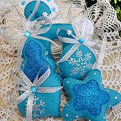Сувениры и подарки handmade. Livemaster - original item Christmas decorations out of felt. turquoise 2. Handmade.