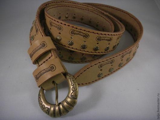 Пояса, ремни ручной работы. Ярмарка Мастеров - ручная работа. Купить Ремень кожаный (08). Handmade. Коричневый, хендмейд, пояс