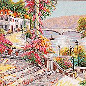 Картины и панно ручной работы. Ярмарка Мастеров - ручная работа Вышитая картина Город на реке. Handmade.