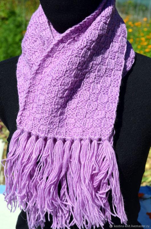 Шарфы и шарфики ручной работы. Ярмарка Мастеров - ручная работа. Купить Вязанный шарф Лиловый. Handmade. Вязанный шарф