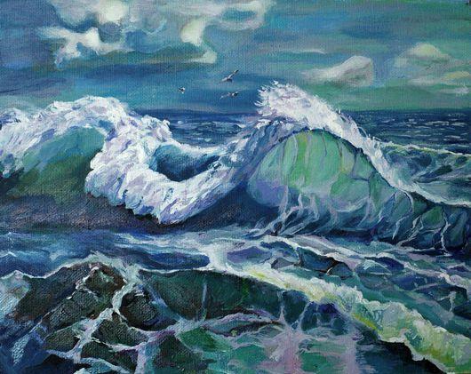 Пейзаж ручной работы. Ярмарка Мастеров - ручная работа. Купить Картина маслом синий цвет в багете Море взволновано дышит. Handmade.
