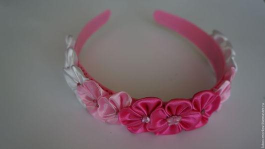 Диадемы, обручи ручной работы. Ярмарка Мастеров - ручная работа. Купить Ободок канзаши Розовый цвет. Handmade. Комбинированный