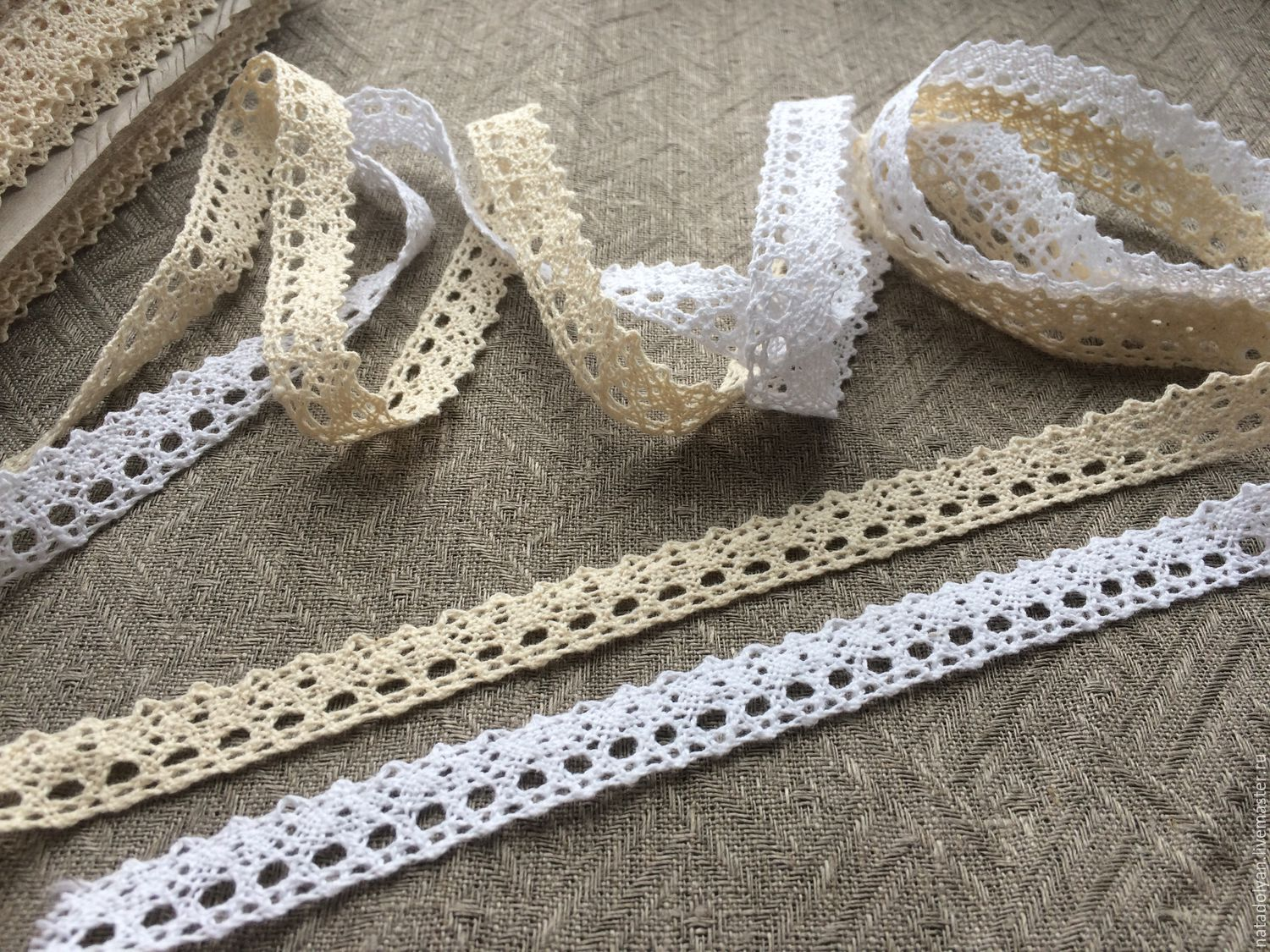 Lace cotton 'Tenderness' 10mm WHITE AND BEIGE, Lace, Ivanovo,  Фото №1
