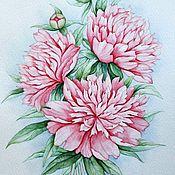 """Картины и панно ручной работы. Ярмарка Мастеров - ручная работа Рисунок """"Розовые пионы"""" акварель. Handmade."""