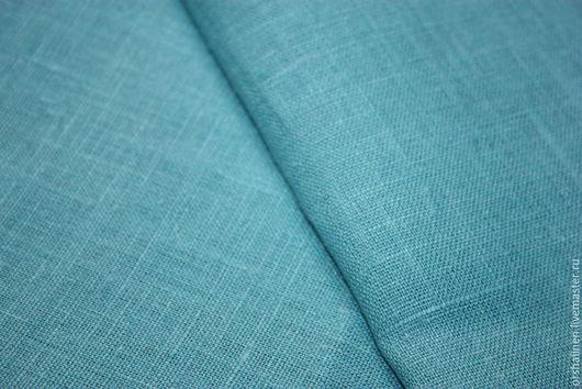 """Шитье ручной работы. Ярмарка Мастеров - ручная работа. Купить 100% лен. Ткань костюмная """"Бирюза"""". Handmade. Бирюзовый"""