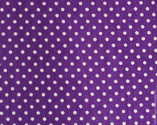 Шитье ручной работы. Ярмарка Мастеров - ручная работа. Купить Ткань Хлопок мелкий горошек фиолетовый. Handmade. Хлопок