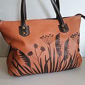 Сумки и аксессуары handmade. Livemaster - original item Leather bag. Grass Shopping Bag brown. Handmade.